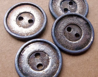 eco friendly heavy metal silver tone brass tone rustic distressed buttons--matching lot of 4