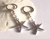 Nipple Rings - Set of 2 - Nipple Jewelry - Body Piercing - Silver Starfish Charm and Swarovski Crystal - Personalized Birthstone