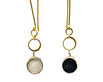 Long Eternity Sun and Moon Earrings. Day and Night Druzy Earrings. Assymetrical Eternity Circle Earrings. E1530-2