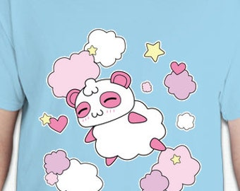 Kawaii Harajuku Fairy Kei Pop Kei Spank Pastel Goth Cartoon Anime Cotton Candy Panda Pandy Tee