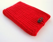 Berry Red Kindle Cover, Crochet Kindle Cozy, Gadget Cover, Nook Sleeve, eReader Cozy, Red Kindle Cozy, Gadget Cozy, Nook Cozy