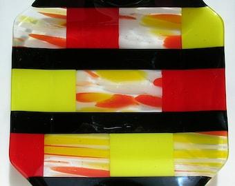 Geometric Art Glass Platter Fused Glass Serving Dish Fused Glass Art