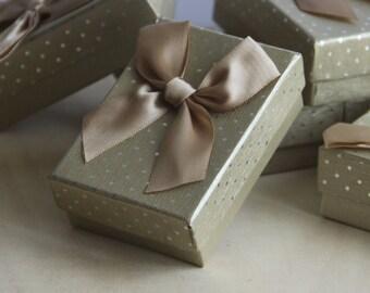 Set of 8, Fancy Gold Gift Box, Polka Dot Jewelry Box, Satin butterfly