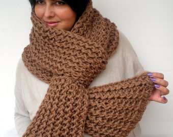 Camel Ivy Scarf Soft  Wool Big  Neckwarmer Women/Men Fashion  Chunky  Knit  Scarf NEW