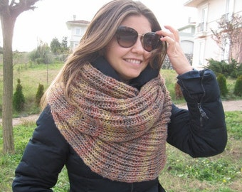 Winter fashion accessories-Knit scarf-Beige Rust Knitted blanket shawl scarf,chunky-long-infinity scarf-Man-woman fashion-gifts for her him-