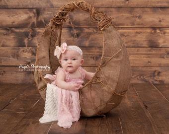 Bow Headband, Infant Headband, Lace Headband- Pink and Gold Lace Bow Headband