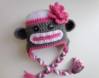 Ready to Ship Newborn Crochet Girls Sock Monkey Hat Pink and Gray Photo Prop