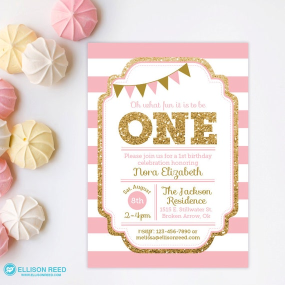 1st Birthday Invitation, Pink and Gold invitation, Gold Glitter ...