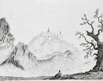 Illustration Ink landscape and ink landscape drawing and ink landscape art with mountain scene city and castle with tree and unframed art