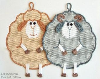065 Mr and Mrs Sheep potholder - Amigurumi Crochet Pattern PDF file by Zabelina Etsy