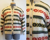 1950's Hand Knit Cardigan / Nordic Sweater / Size Medium Large
