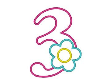Flower Number Three Birthday Machine Embroidery Digital Applique Design