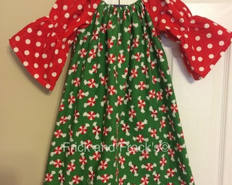 Ready to Ship Peppermint Peasant Dress size 5T and 12 months
