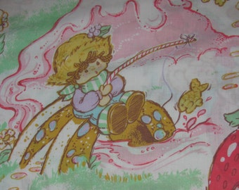 Vintage Strawberry Shortcake Twin/Standard Flat Sheet - Dolls and Animal Friends/Pets - Huckleberry Pie