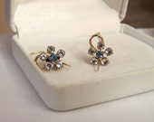 Floral Gemstone Gold Filled Earrings Van Dell Authentic Vintage Artisan Altered Genuine White Topaz & Swiss Blue Topaz