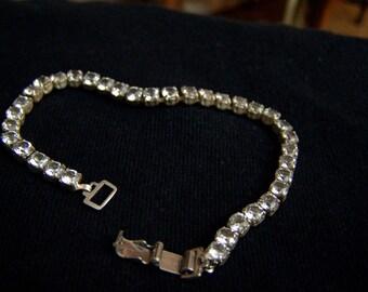 Sterling & Gemstone Tennis Bracelet Genuine White Topaz Authentic Vintage Line Bracelet  Artisan Altered
