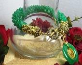 Made To Order - Jade Bracelet, Green Bracelet, Bead Bracelet, Oriental Medallion