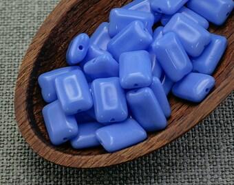 Rectangle Beads, Czech Blue Tile 15mm (20) Opaque Flat Glass Cornflower