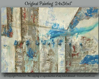Large wall art, Canvas Neutral, Teal home decor, Abstract painting, Shabby Chic, Red turquoise decor, Office decor, Tan brown blue artwork
