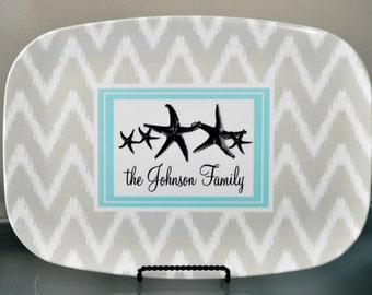 Personalized Platter - Star Fish Family,  Customized Melamine Platter