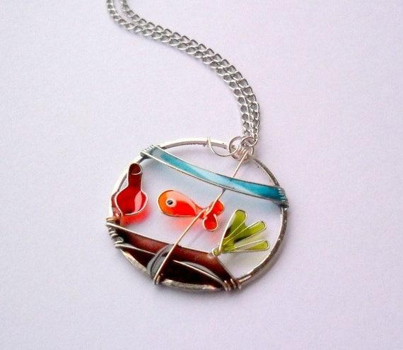 Goldfish pendant, glass fish bowl vase pendant, wearable art jewelry, free shipping, colorful pendant, resin pendant, wire pendant