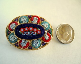 Vintage Brooch Italian Jewelry Miniatures Mosaic Glass Jewelry Red Flowers Unique Handmade Collectibles Valentines Day Gifts for Her