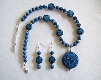 Dragon Necklace & Earrings Fantastic One of a Kind Chinese Jewelry Blue Lapis Stone Blue Cinnabar Silver Plated Unique Necklace Gift for Her