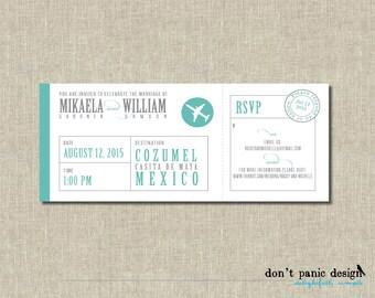 Printable Invitation Wedding Boarding Pass - Mint Green Airplane - Destination Wedding, anniversary, Vow Renewal