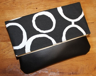 Medium Foldover Clutch Black and White Geometric Print Canvas with Black Faux Leather