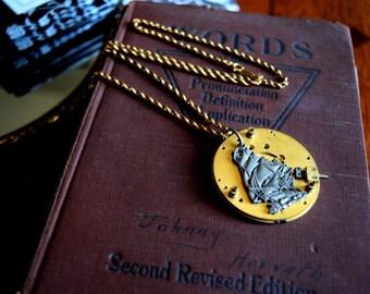 Steampunk Jewelry, Watch Working, Nautical Steampunk Jewelry, Nautical Jewelry, Steampunk Necklace, Pirate Ship Necklace, Steampunk Watch
