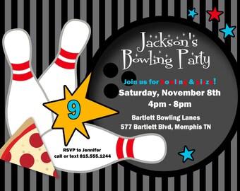 Bowling Birthday Invitation -- digital, custom, personalized, print yourself