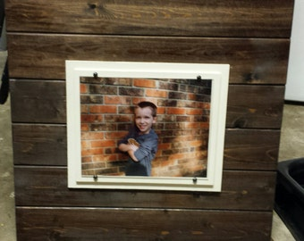 "8"" x 10"" Photo Frame - Wood Wall Picture Frame. 21"" x 21"" - espresso / walnut color"