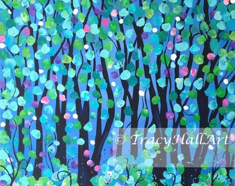"Tree Painting Spring Blooming Landscape Art Aqua Turquoise Black Jewel Tone Art Canvas 20"" x 20"""