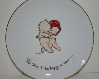 Kewpie Plate Vintage The Time To Be Happy Is Now Rose Oneill