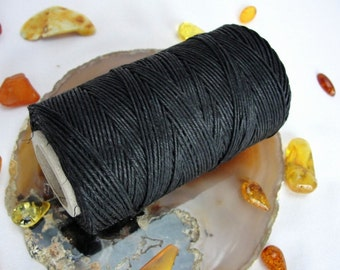 16 yards -15m. BLACK  waxed  linen  cord  3-Ply (1mm)