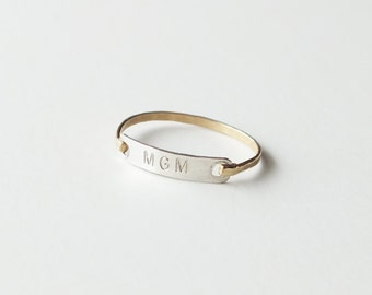 Personalized Gold Ring - Sweetheart Ring - Wedding Band - Initial Gold Filled or Sterling Monogram Ring - Gold Bar Ring - ID Ring