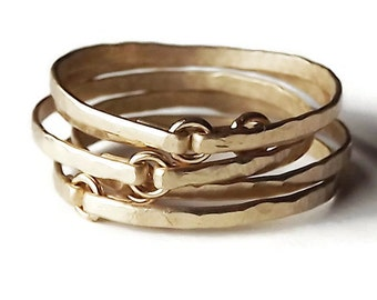 Five Hammered Gold Filled Tiny Circle Rings - Gold Rings - Stacking Rings