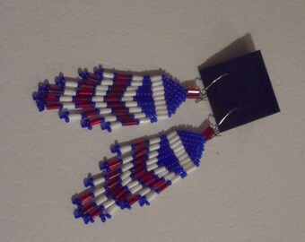 Red, White, and Blue Seed Bead Earrings