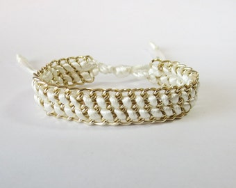 Woven Chain Bracelet, White and Gold Bracelet, Satin and Chain Bracelet, Adjustable Bracelet, Rock Glamour, Arm Candy