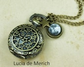 Antique bronze Full moon watch necklace - Full moon jewelry - space jewelry - Galaxy, Astronomy -Coupon code