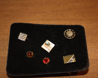 Set of Six Vintage Tie Tacs, Various Metals and Stones
