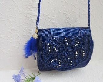 bead purse, rhinestone purse, wedding purse, bridal purse, blue purse, vintage purse, upcycled purse, eco friendly, crystal purse, feather