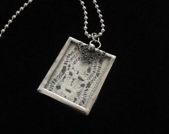Vintage Lace Memory Glass Necklace