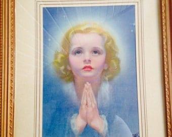 Roy Best Litho of Young Girl Praying / Religious Litho / Signed Roy Best Litho