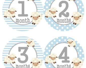 Baby Monthly Milestone Growth Stickers Baby Blue Lamb Nursery Theme MS548 Baby Boy Girl Shower Gift Baby Photo Prop