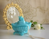 19th Century Vintage Portieux-Vallerysthal Blue French Opaline Glass Squirrel Handled Dish