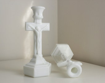 Highly Unusual Milk Glass Crucifix Candlestick Pair — EAPG