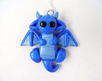 Kawaii Blue Dragon Necklace Polymer Clay