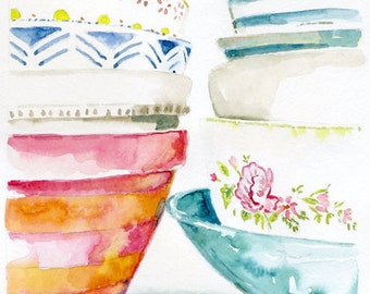 Still Life Kitchen Decor of Original Watercolor Painting -- Stacked Bowls