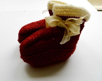 Knitted baby shoes, shoes, baby, booties, loop, silk, organic sheep's wool,